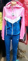 Женский трикотажный спортивный костюм синий с розовым