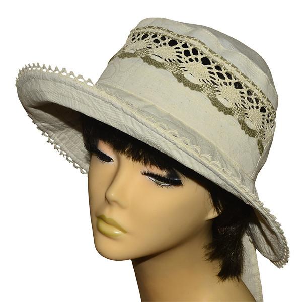 Шляпа женская Бахрама лен в цветах светлый