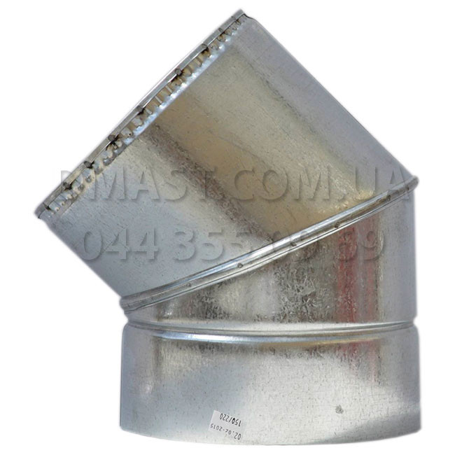 Колено для дымохода утепленное 1мм ф180/250 нерж/оцинк 45гр (сендвич) AISI 304