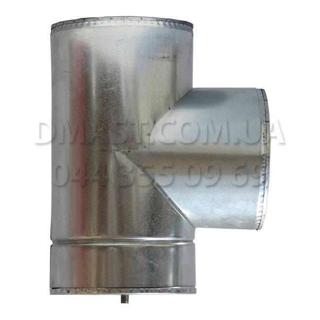 Трійник для димоходу утеплений 1мм ф130/200 нерж/оцинк 87гр (сендвіч) AISI 304