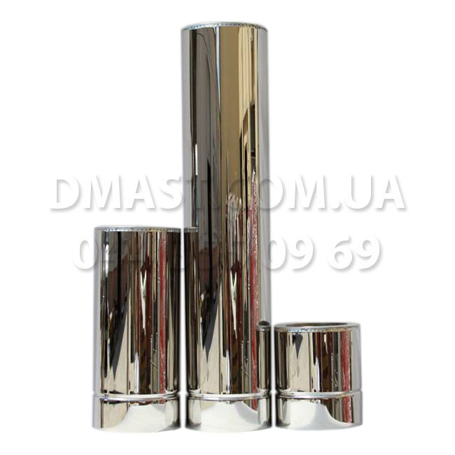 Труба для димоходу утеплена 1мм ф140/200 нерж/нерж 1м (сендвіч) AISI 304