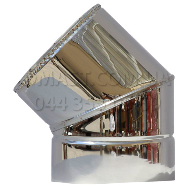 Колено для дымохода утепленное 1мм ф180/250 нерж/нерж 45гр (сендвич) AISI 304