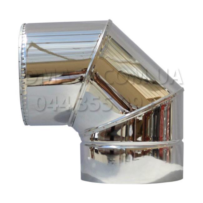 Колено для дымохода утепленное 1мм ф130/200 нерж/нерж 90гр (сендвич) AISI 304