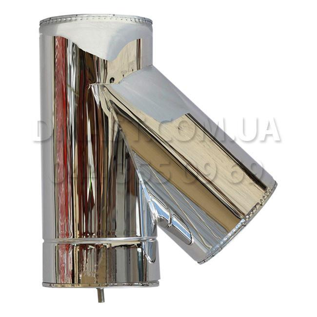 Трійник для димоходу утеплений 1мм ф160/220 нерж/нерж 45гр (сендвіч) AISI 304
