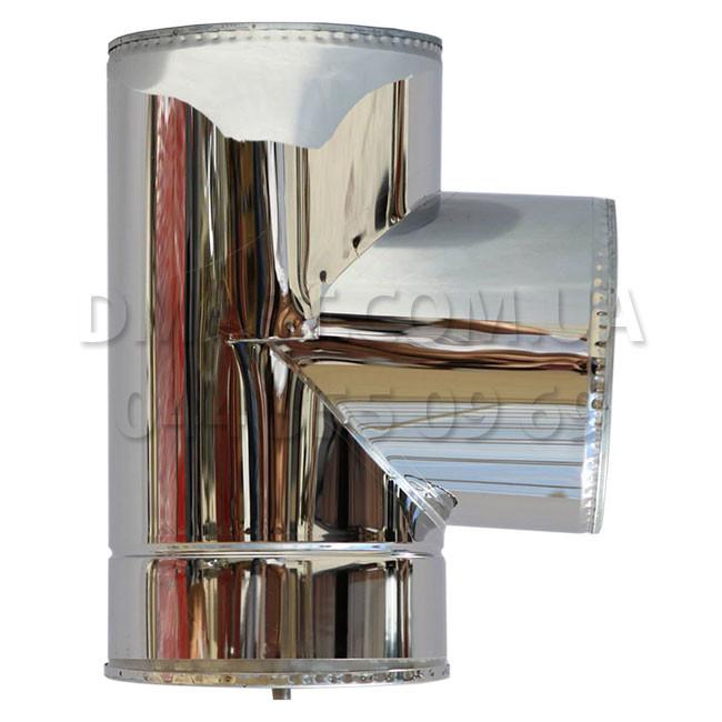 Тройник для дымохода утепленный 1мм ф130/200 нерж/нерж 87гр (сендвич) AISI 304