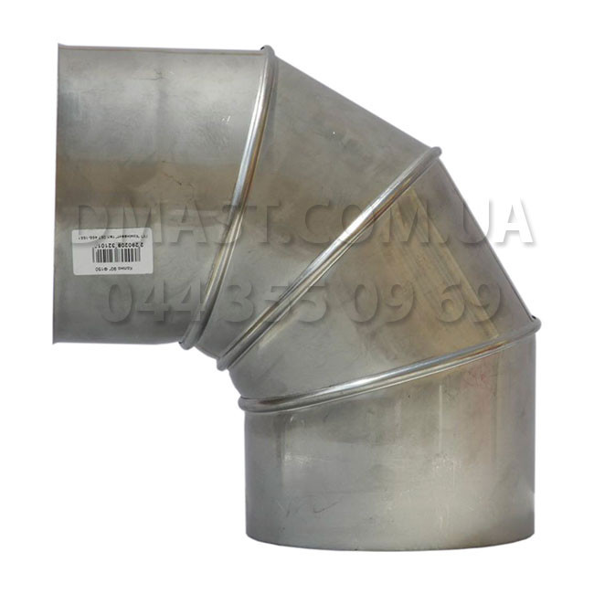 Коліно для димоходу 1мм ф150 90гр з нержавіючої сталі AISI 304