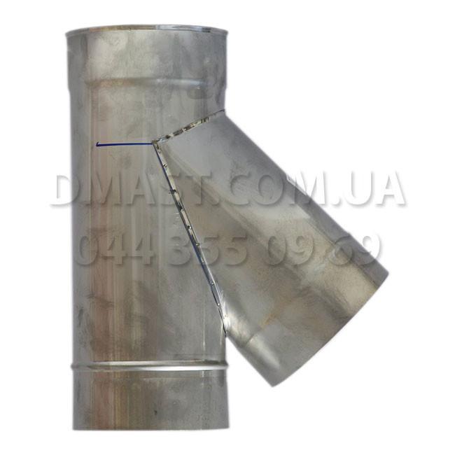 Трійник для димоходу 1мм ф130 45гр з нержавіючої сталі AISI 304