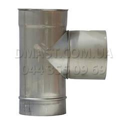 Трійник для димоходу ф130 87гр 1мм з нержавіючої сталі AISI 304