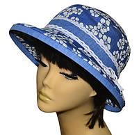 Шляпа женская Любава х/б джинс в цветах, фото 1