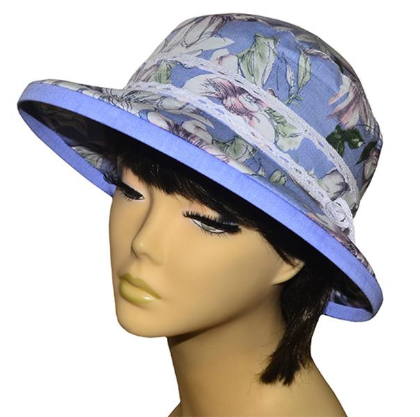 Шляпа женская Любава х/б лютики голубые