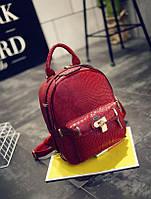 Рюкзак с замочком и тиснением под кожу крокодила (красный)