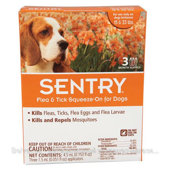 SENTRY капли от блох, клещей и комаров  для собак 7-15 кг (1 пипетка по 1,5 мл)
