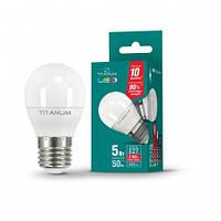 Светодиодная лампа TITANUM (VIDEX), 5W, G45, 4100К, нейтрального свечения, цоколь - Е27, 1 год гарантии!