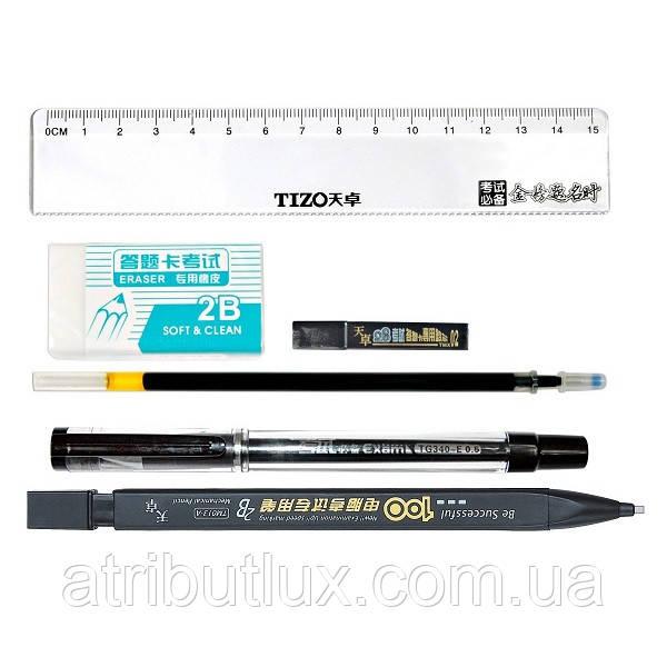 Набір у блістері TM013 Кар.хутро. +Грифелі +Ручка.гел. +Стрижень +Лінійка +Гумка, корпус асорті