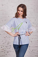 Женская блузка с рюшами от производителя 2017 - (код бл-93б), фото 1