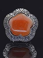 Кольцо с сердоликом. Кольцо с Сердоликом натуральный камень, ввиде цветка, 5 лепестков, металл белый (015354)