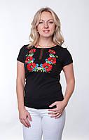 """Вышитая женская футболка с красным маком""""Мак2"""""""