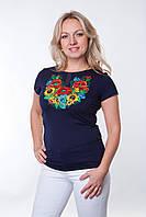 """Женская вышитая футболка гладью""""Соняшник"""""""