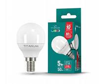 Светодиодная лампа TITANUM (VIDEX), 5W, шарик,G45, 4100К, нейтрального свечения, цоколь - Е14, 1 год гарантии!