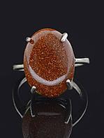 """Кольцо из авантюрина. Кольцо минималистичное с камнем """"Авантюрин"""", оттенок коричневый, 19 размер""""Авантюрин"""" (021789-190)"""