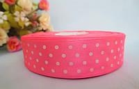 Атласная лента в горошек 2,5 см, цвет розовый