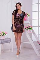 Женское пляжное гипюровое платье - туника в разных цветах. Ткань: гипюр. Размер: 42-48.