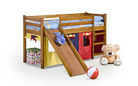 Кровать NEO PLUS ze zjeżdżalnią i materacem - olcha
