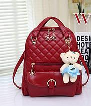 Элитные стеганые дутые рюкзаки Candy Bear с брелком , фото 3