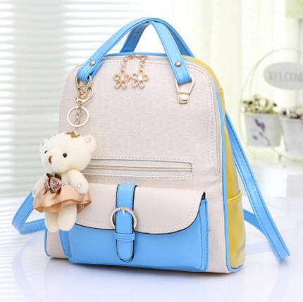 Элитные двухцветные рюкзаки Candy Bear с брелком, фото 2
