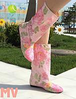 Сапоги тканевые нежно-розовые