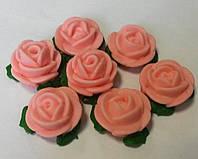 Набор Розы  d25 с листочками розовые  (7шт) (код 03014)