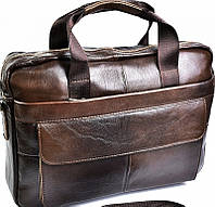 Мужской вместительный портфель из натуральной кожи коричневого цвета