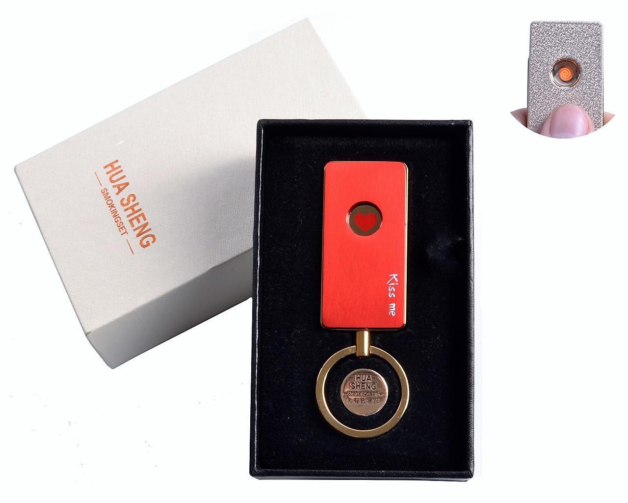 """Спиральная USB-зажигалка """"Kiss me"""" №4808-2, модный девайс в подарочной упаковке, выполнена в виде брелка"""