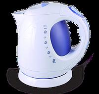 Электрический чайник Astor EK-1506 White/blue, электрический чайник пластик, электрочайник 2 л