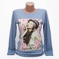 Модный свитшот женский с принтом цвет джинс p.44-46 N1903-7