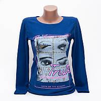Модный свитшот женский с принтом цвет электрик p.44-46 N1903-9