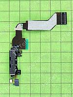 Шлейф разъема зарядки iPhone 4S Оригинал элем. Черный