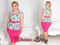 Летнее цветочное платье с баской для  дам с пышными формами