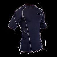Спортивный рашгард с коротким рукавом темно синий и серой строчкой