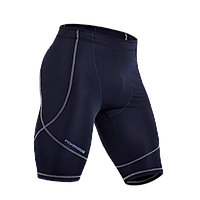 Спортивные шорты компрессионные темно синие для занятия спортом с серым швом