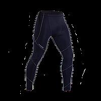 Штаны мужские компрессионные спортивные темно синие с серым швом