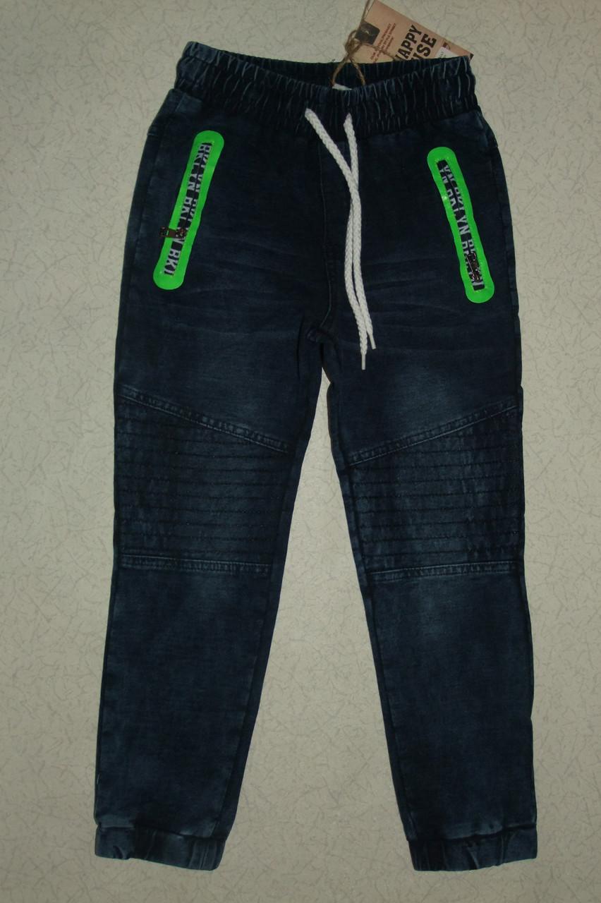 """Брюки на мальчика 12,16 лет трикотажные синие """"под джинс""""арт 1506."""