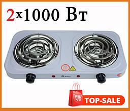 Электроплитка настольная Domotec 2 конфорки по 1000 Ватт  для кухни, дачи, дома