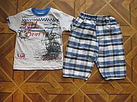 Детский комплект футболка и капри Кораблик  для мальчиков  2- 7 лет Турция хлопок