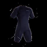 Комплект Рашгард с коротким рукавом + шорты компрессионные темно синие для спорта