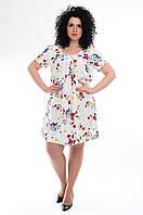 Платье женское белое с цветами, вискоза, 48-54 размеры