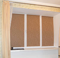 Рулонные шторы ткань НАТУРА 1827 Коричневый цвет 40см