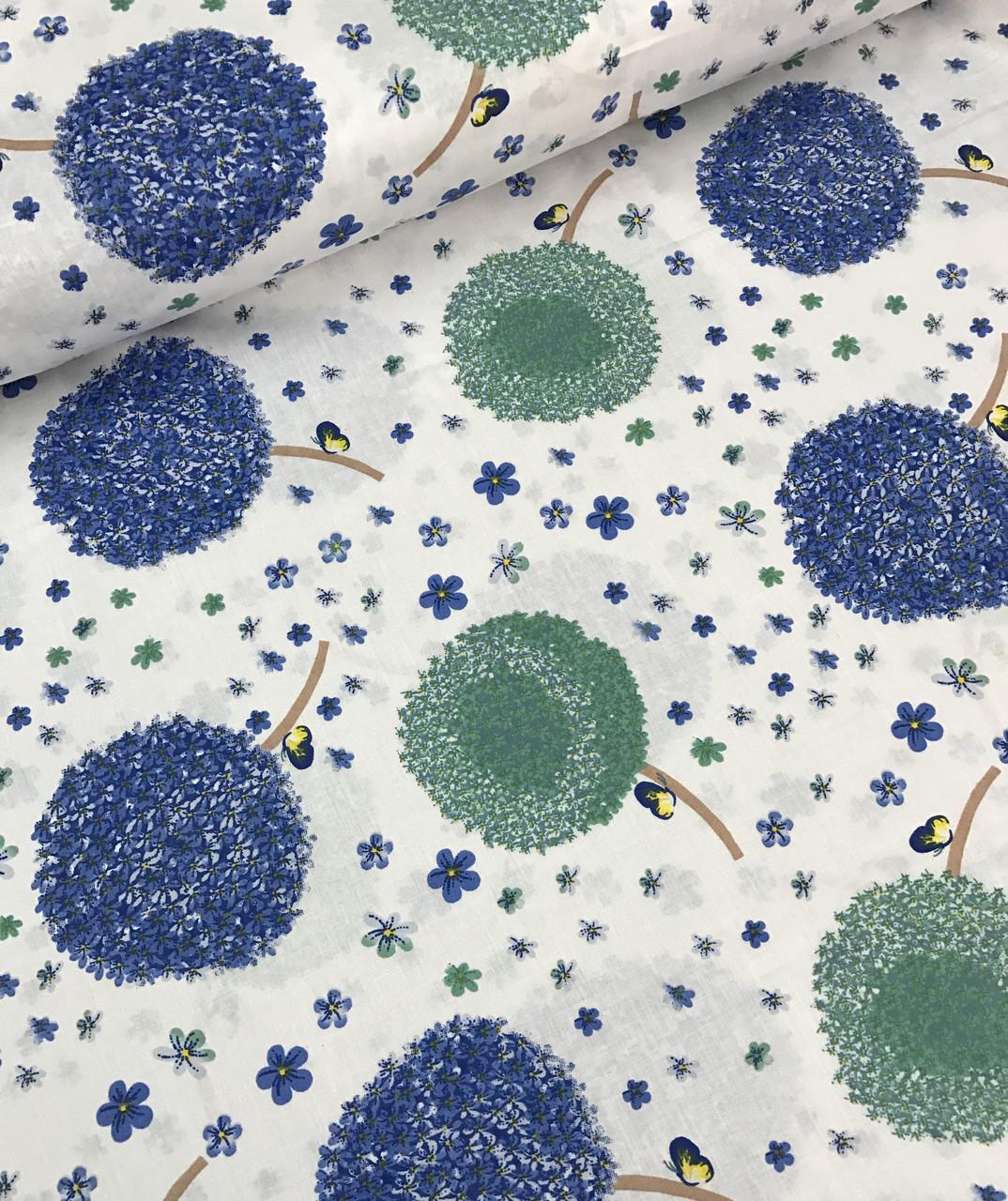Хлопковая ткань польская одуванчики сине-голубые