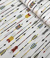Хлопковая ткань польская стрелы разноцветные на белом