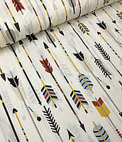 Хлопковая ткань польская стрелы разноцветные на молочном